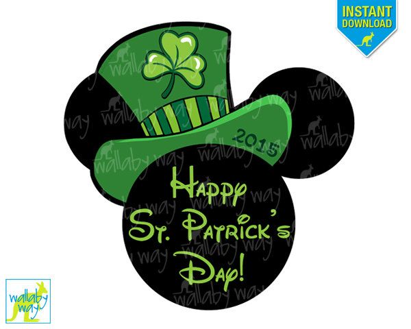 St Patricks Day Mickey Printable Iron On Transfer or Use as Clip Art, DIY Disney Shirt, Mickey Head, Download, Silhouette, Matching Shirts by TheWallabyWay on Etsy