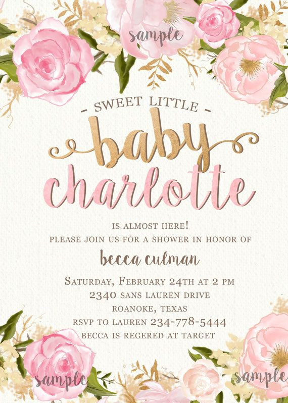 Girl Baby Shower Invitation Flowers And Pink Summer Spring Rose