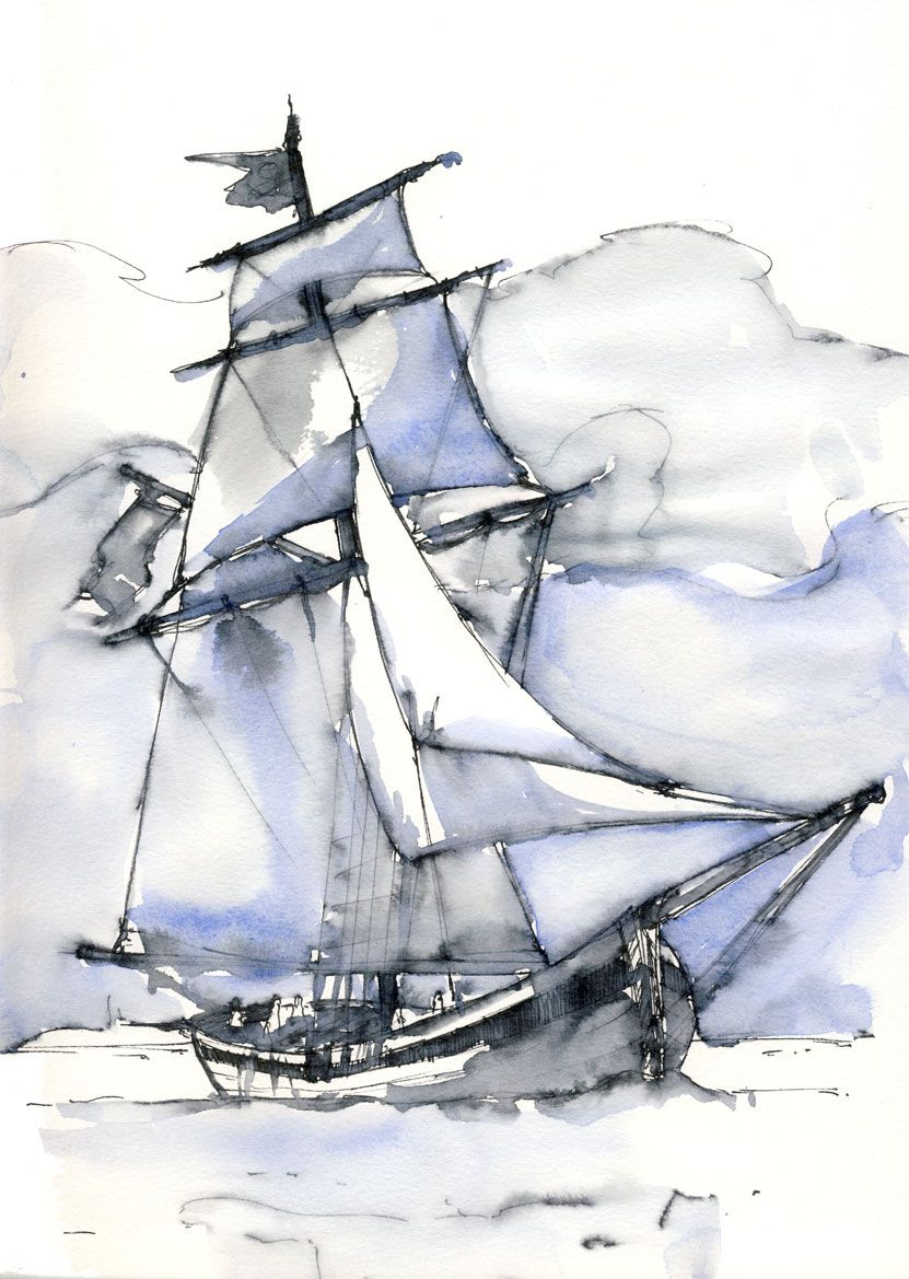 Voilier aquarelle art inspiration pinterest water colors nautical painting and watercolors - Voilier dessin ...