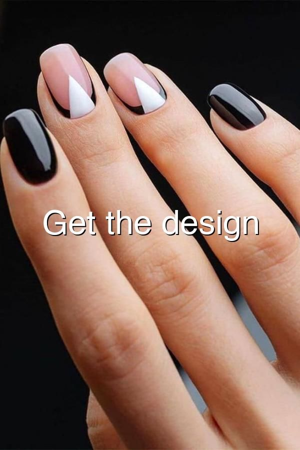 Beautiful reverse black french with white triangle accent nails nails blackandwhite accentnails reversefrench