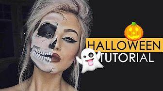 EASY HALF SKULL HALLOWEEN MAKEUP TUTORIAL Ad - YouTube