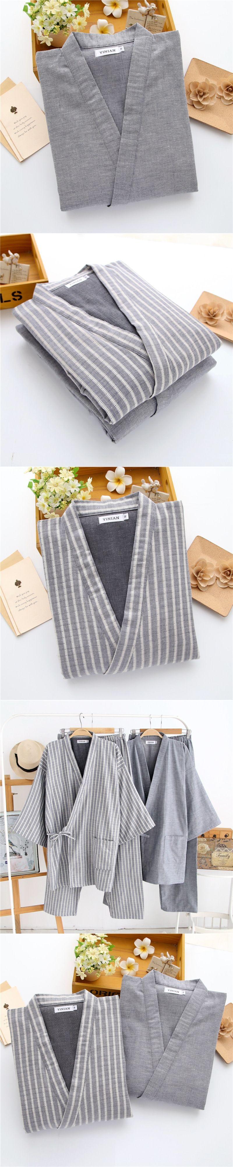 f95f3ea0c0 Cotton Yukata Japanese Kimono Style Mens Pajama Sets Traditional Japanese  Pajamas Men s Sleepwear Lounge Home Clothing