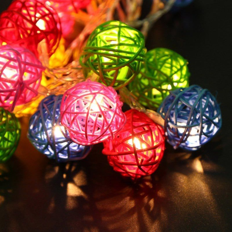 Decorative Rattan Balls Jiawen Led String Light 4M 20 Leds Fairy Rattan Balls For Holiday
