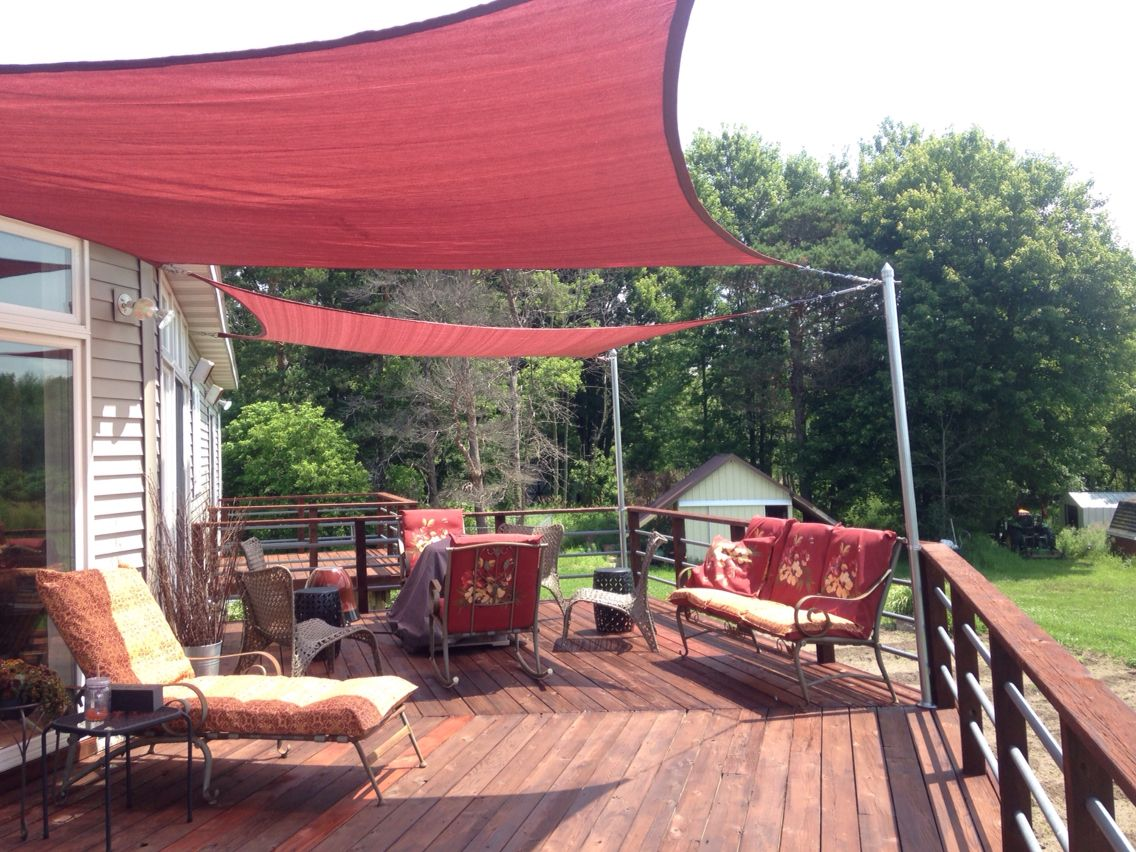 home depot shade sails on our deck backyard shade pinterest decking outdoor decor and house. Black Bedroom Furniture Sets. Home Design Ideas