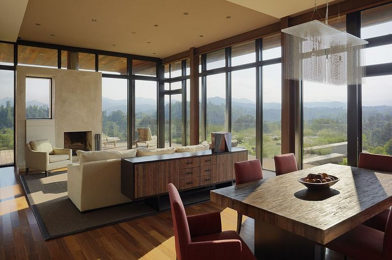 award-winning home in Leicester, North Carolina.  Designed by Eric Gartner of New York-based SPG Architects, the energy-efficient home has a custom configuration of Marvin windows providing expansive southern and western views.