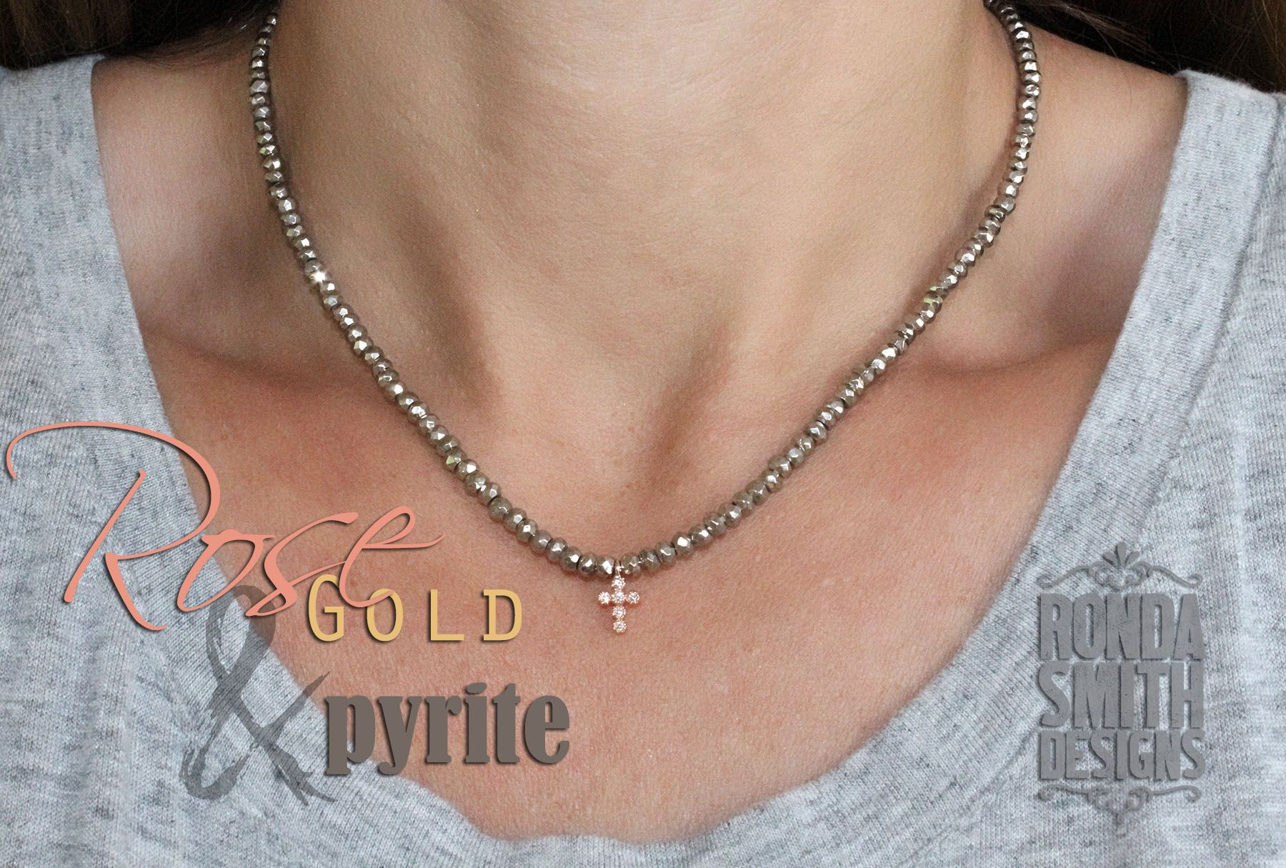 LOVE! pyrite necklace with rose gold cross.
