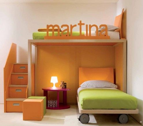 Baby Nursery, Green Yellow Design Loft Bed Room Mattress Linen Sheets White Pillow Cabinets Book Case Stair Pink Table Desk Lamp Toddlers Designer Rooms Designing Kid Design Children Decor Furniture Marble Floor: Amazing, Inspiration Ideas and Decoration Kids Room