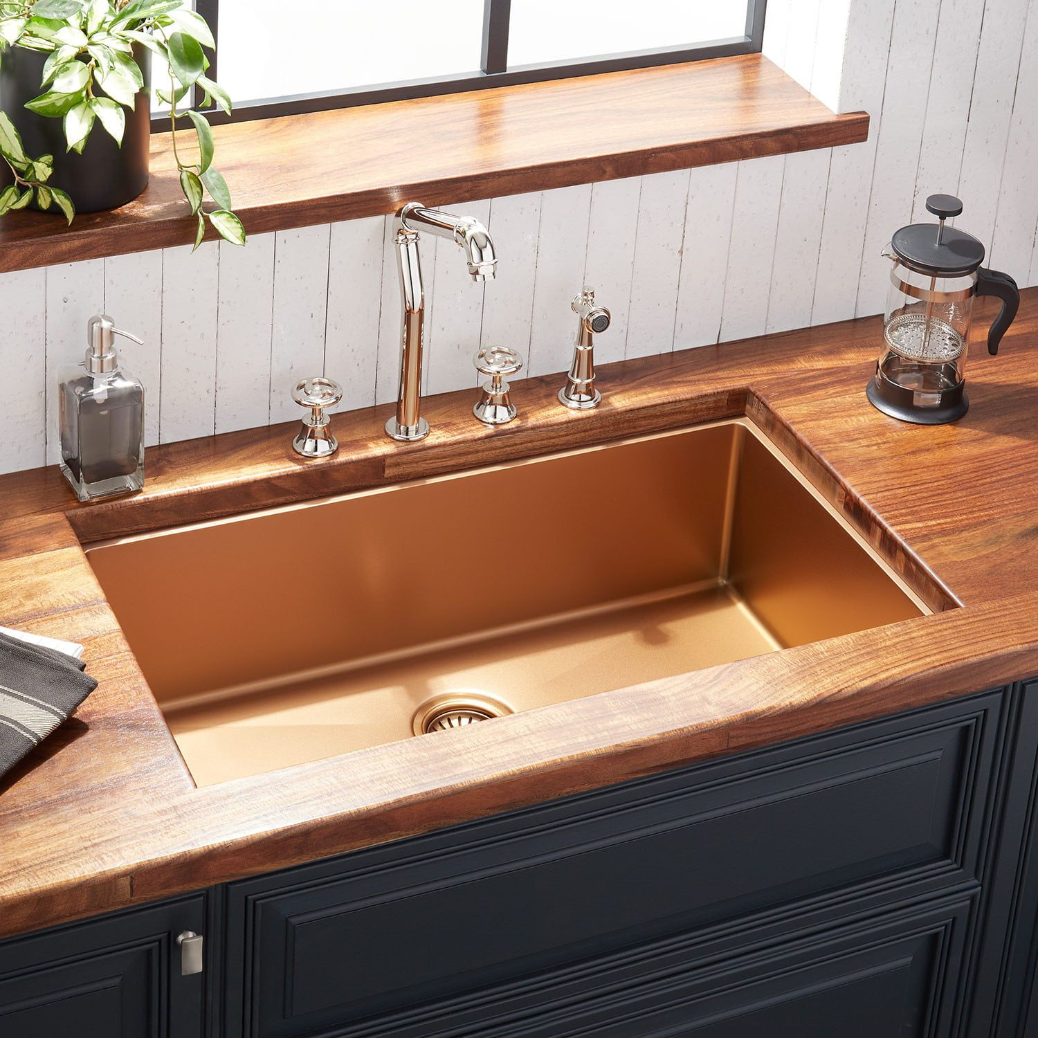 32 Atlas Stainless Steel Undermount Kitchen Sink Bronze
