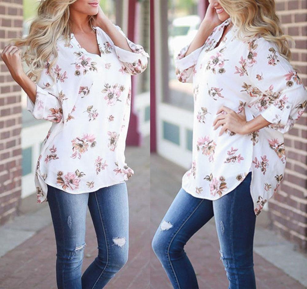 Fashion Women's Ladies Summer Floral Loose Tops Long Sleeve Shirt ...