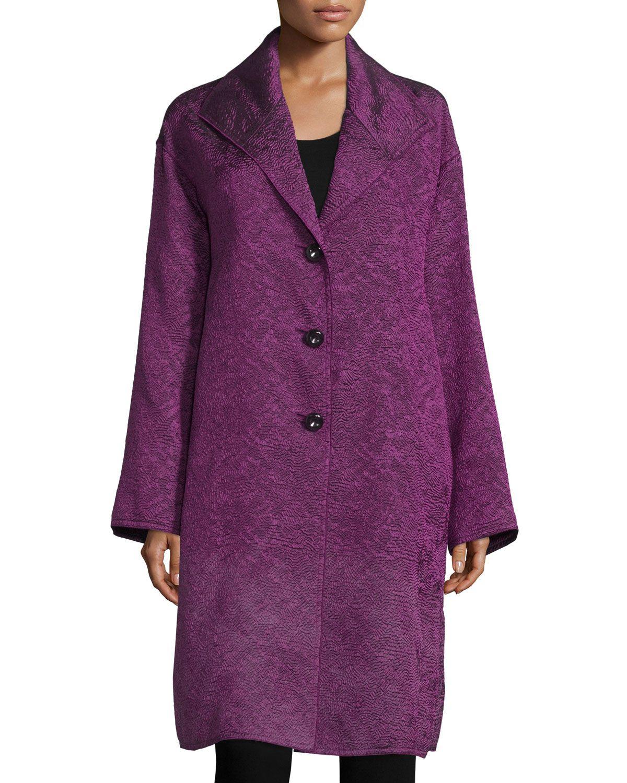 Escada Long-Sleeve Three-Button Shirt Jacket, Amethyst (Purple), Women's, Size: 32
