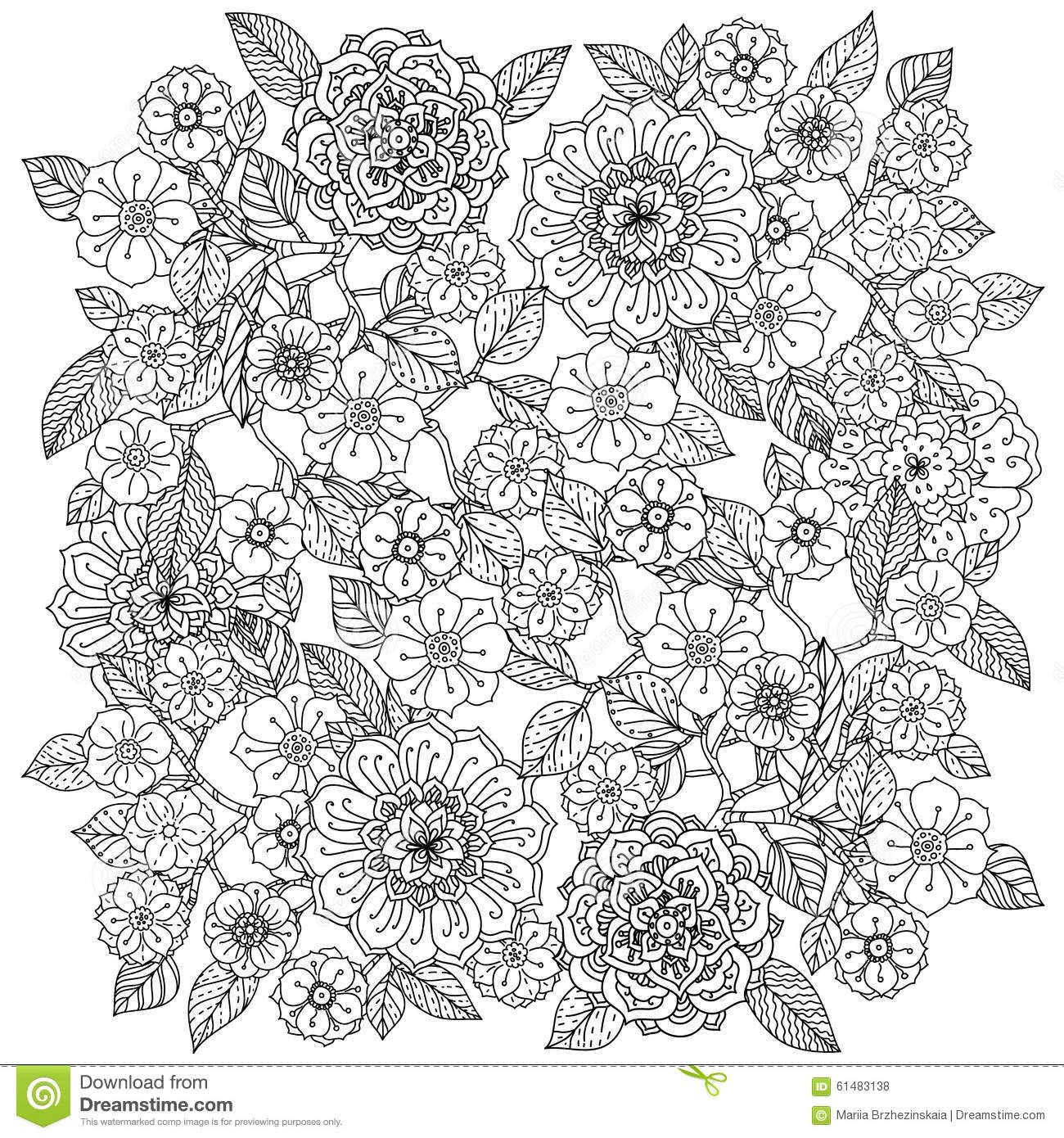 Floral Ornament Art Of Mandala Style Zentangle Stock Vector