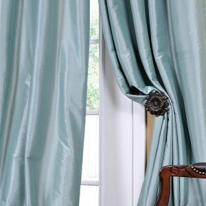Linens N Thngs Faux Silk Curtain Panels In Robin S Egg Blue I Got These For Our House They Are Not Nearly As Light Drapes Curtains Curtains Blue Curtains
