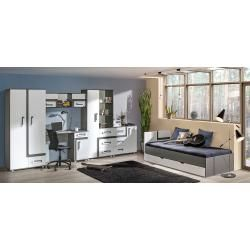 Photo of Youth room – hinged door wardrobe / wardrobe Oskar 02, color: anthracite / white – 192 x 90 x 90 c