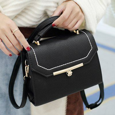 Twist-Lock Closure Stitching Crossbody Bag