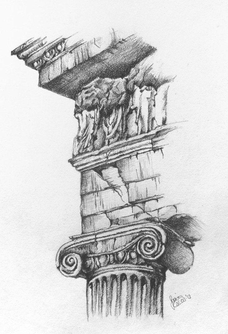 Image result for greek column pencil drawing