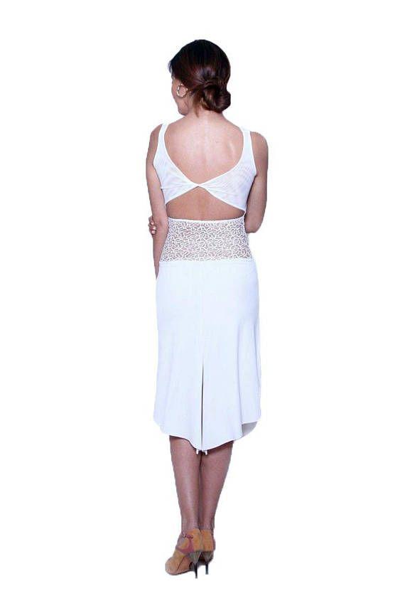 97d80e923540 White Tango Dress with Lace Waist Sexy Milonga Dress #tangodress  #argentinetangodress #milongadress #elegant #tangodance