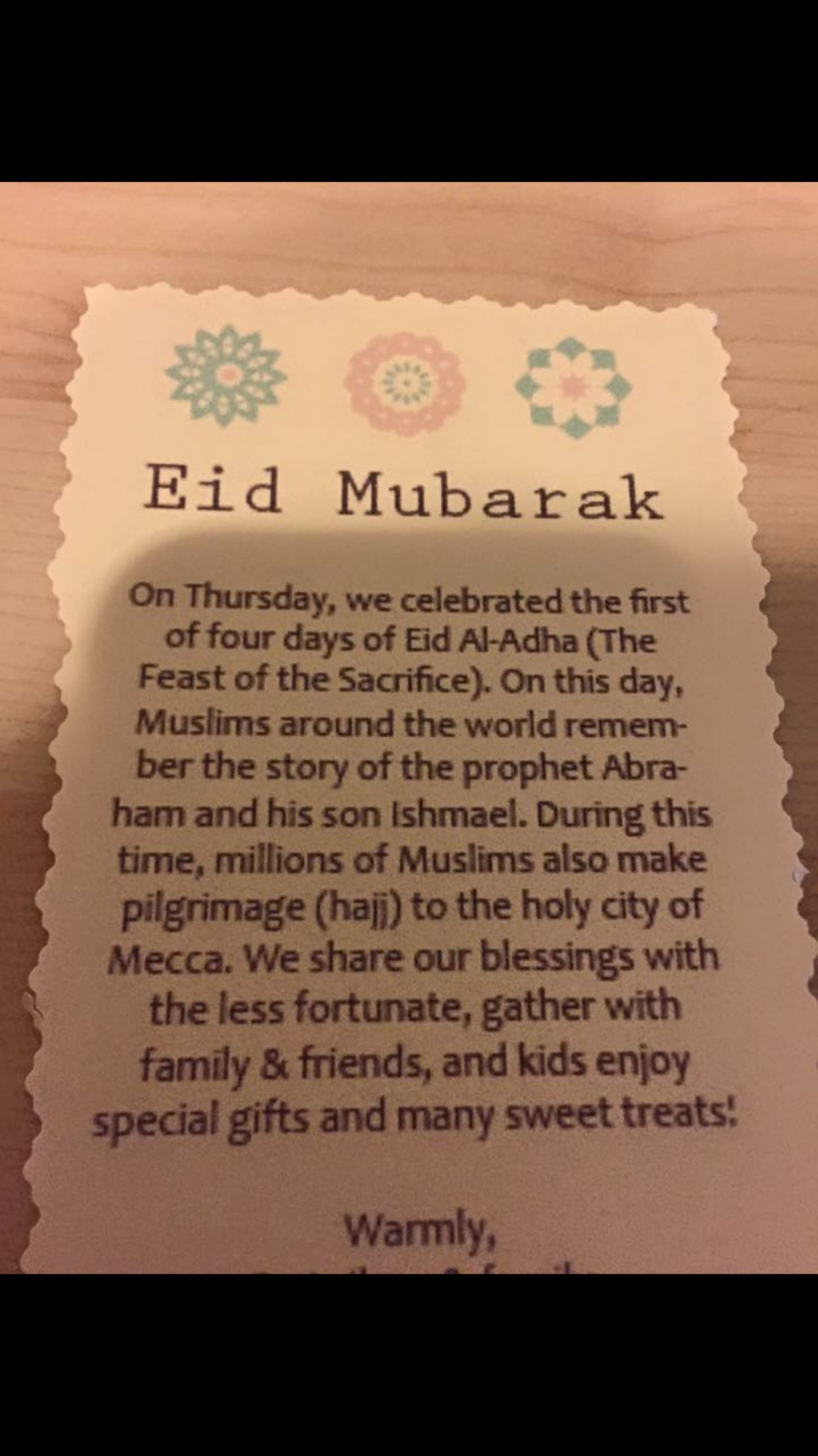 Eid al adha letter for classmates and neighbors to understand the eid al adha letter for classmates and neighbors to understand the holiday thecheapjerseys Image collections