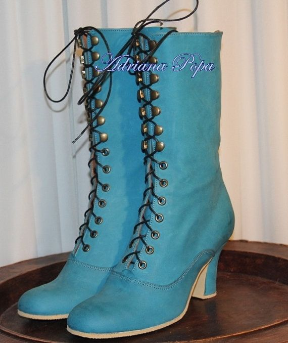 25130fd10b1e7 Turquoise Victorian Boots , Turquoise Ankle Boots , Edwardian Boots ...