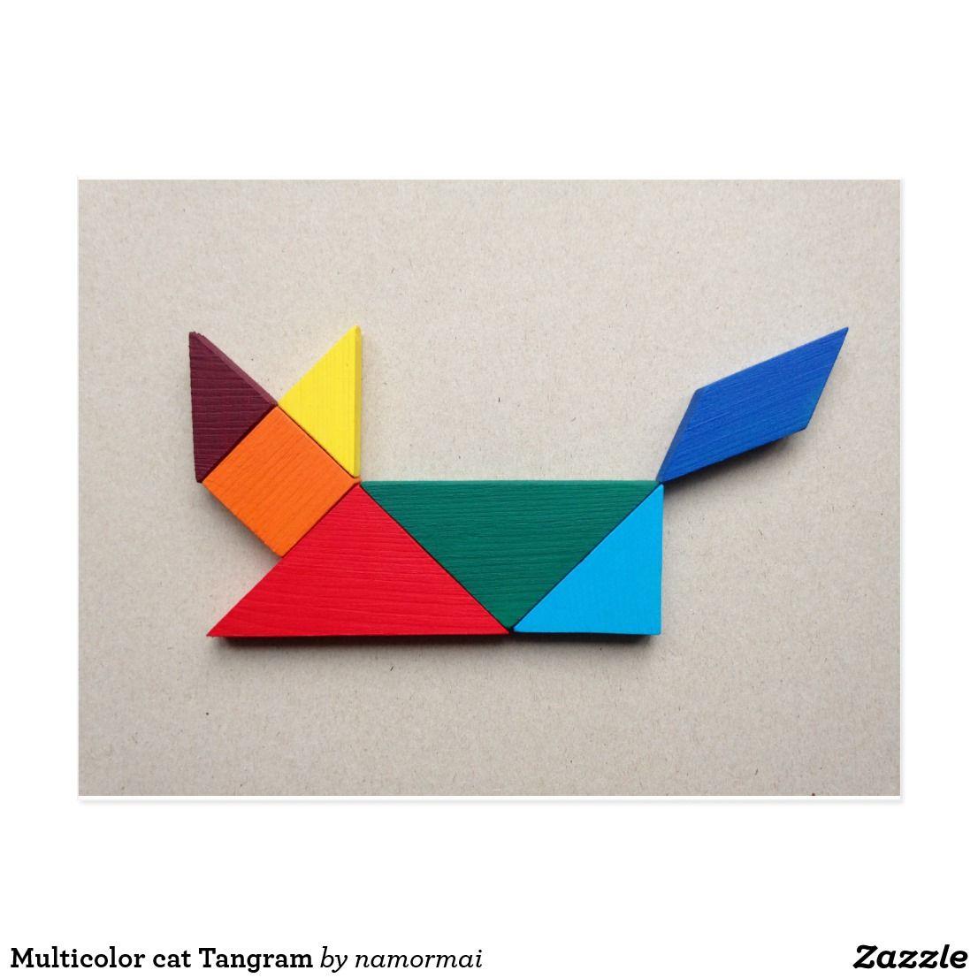 multicolor cat tangram postcard  zazzle  cat colors
