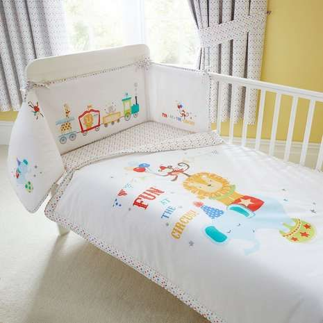 Circus Nursery Cot Quilt and Bumper
