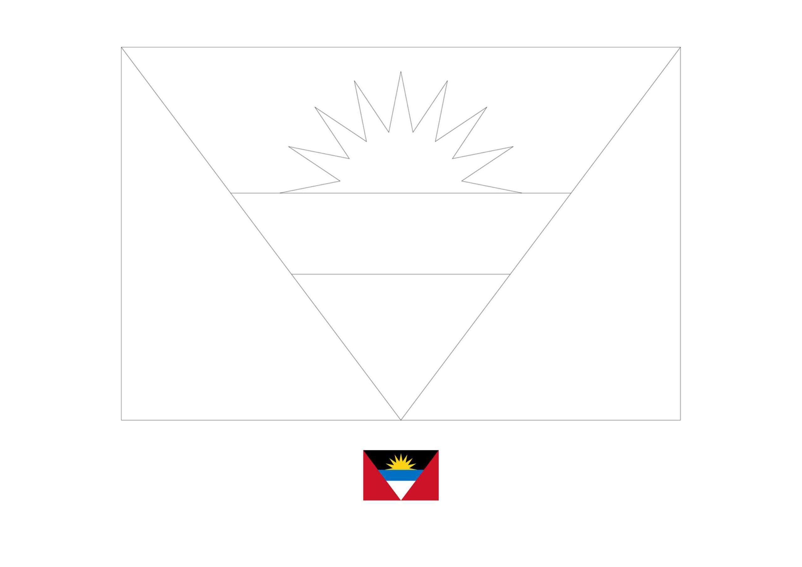 Antigua And Barbuda Flag Coloring Page In 2020 Flag Coloring