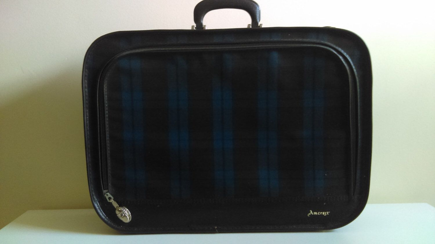 Vintage Blue and Black Plaid Amcrest Suitcase. by SadieandJenny on Etsy https://www.etsy.com/listing/460027260/vintage-blue-and-black-plaid-amcrest