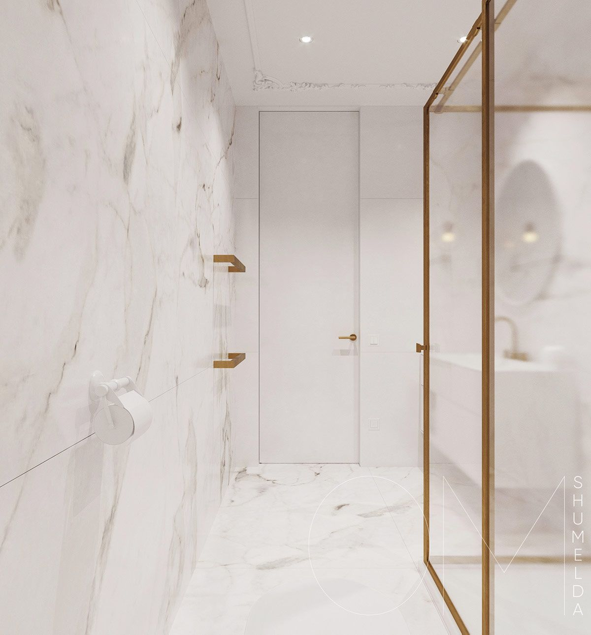 3 Luxe Home Interiors With White Marble Gold Accents Marble