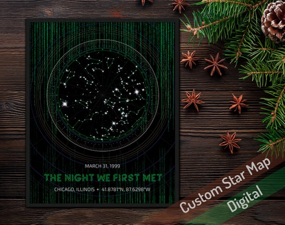 Hi-Tech Custom DIGITAL Star Map with Matrix as Personalized Anniversary or Birthday Gift for Him Nerd Space Poster Fantastic Computer Code