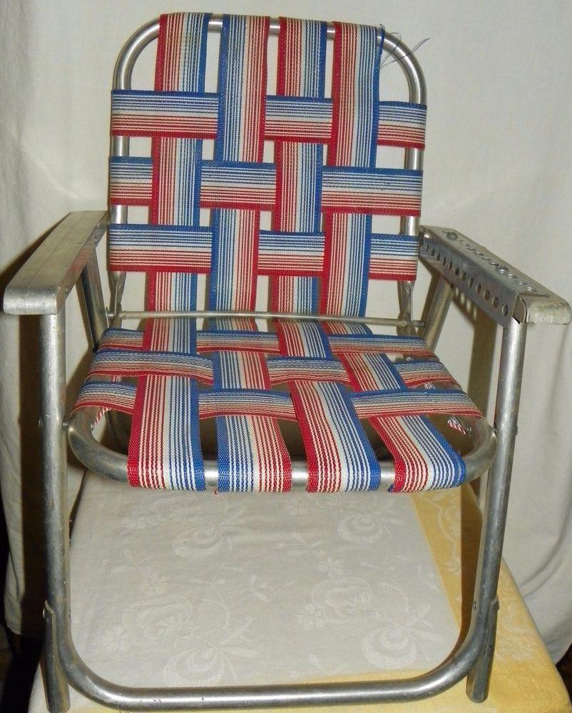 Vtg aluminum red blue white webbed folding chair child kid size retro lawn chair unbranded kidsfoldingchair