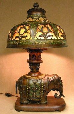 Table Lamp; Indian, Elephant Base, Cloisonne Shade, Bronze, 30 Inch.