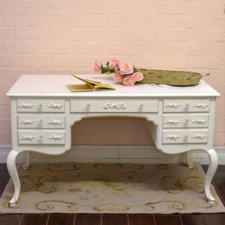 Stunning 5 Drawer Writing Desk In White With Roses 895 00 Thebellacottage Shabbychic Ooak Shabby Chic Office Home Decor Furniture Shabby Chic