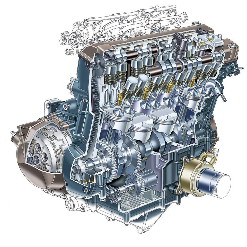 Kawasaki Zx12r Engine Cutaway Motorcycle Engine Engineering Automobile Engineering