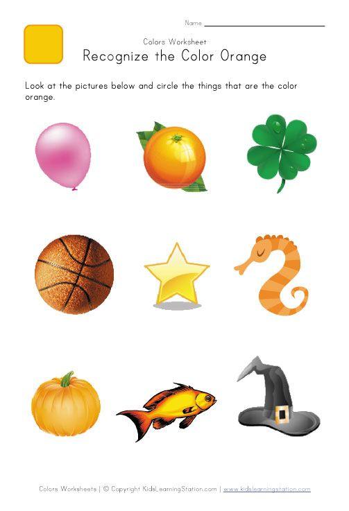 Preschool color worksheet. Color recognition orange