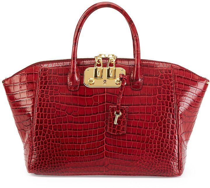 Vbh Brera 32 Crocodile Satchel Bag Cranberry On Style