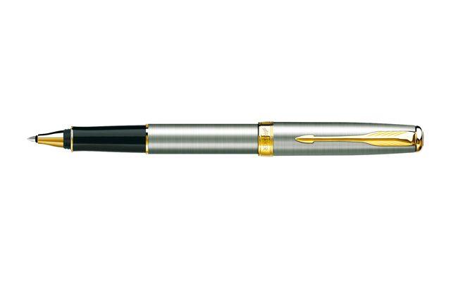 Parker Sonnet Slim Ballpoint Pen Stainless Steel Gold Trim