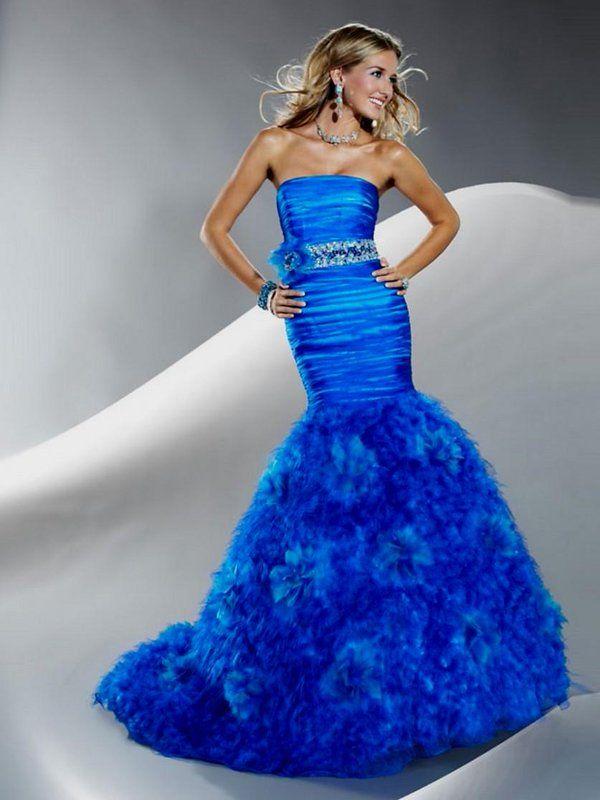 Mermaid Bride Dresses Royal Blue
