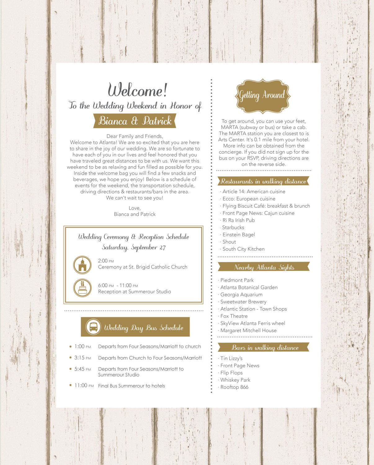 wedding welcome letter by skzpaper on etsy