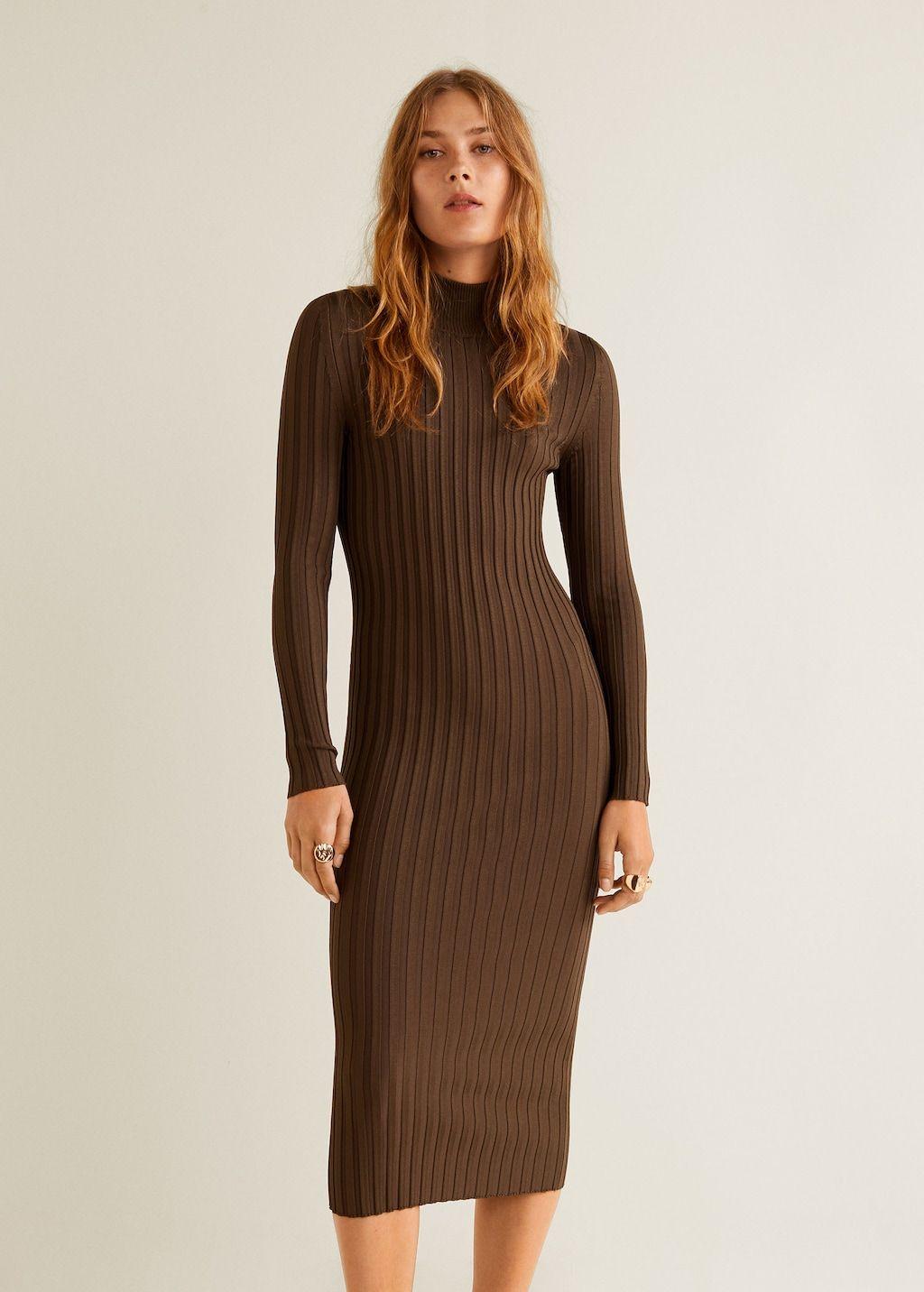 Turtle Neck Dress Women Mango Usa Turtle Neck Dress Brown Sweater Dress Long Sleeve Dress Winter
