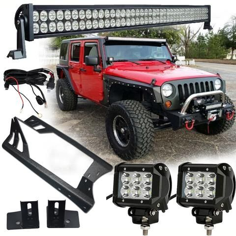 1x 300w 700w 4x 18w led light wiring kit brackets jeep 1x 300w led light 2x 18w spot osram led work light mounting accessories wiring kit brackets for jeep wrangler jk