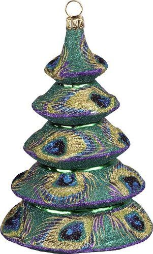 Glitterazzi Peacock Tree Glass Christmas Ornament by Joy To The - peacock christmas decorations