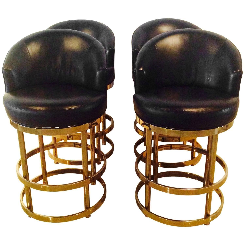 brass swivel counter bar stools vintage set 4 kitchen island