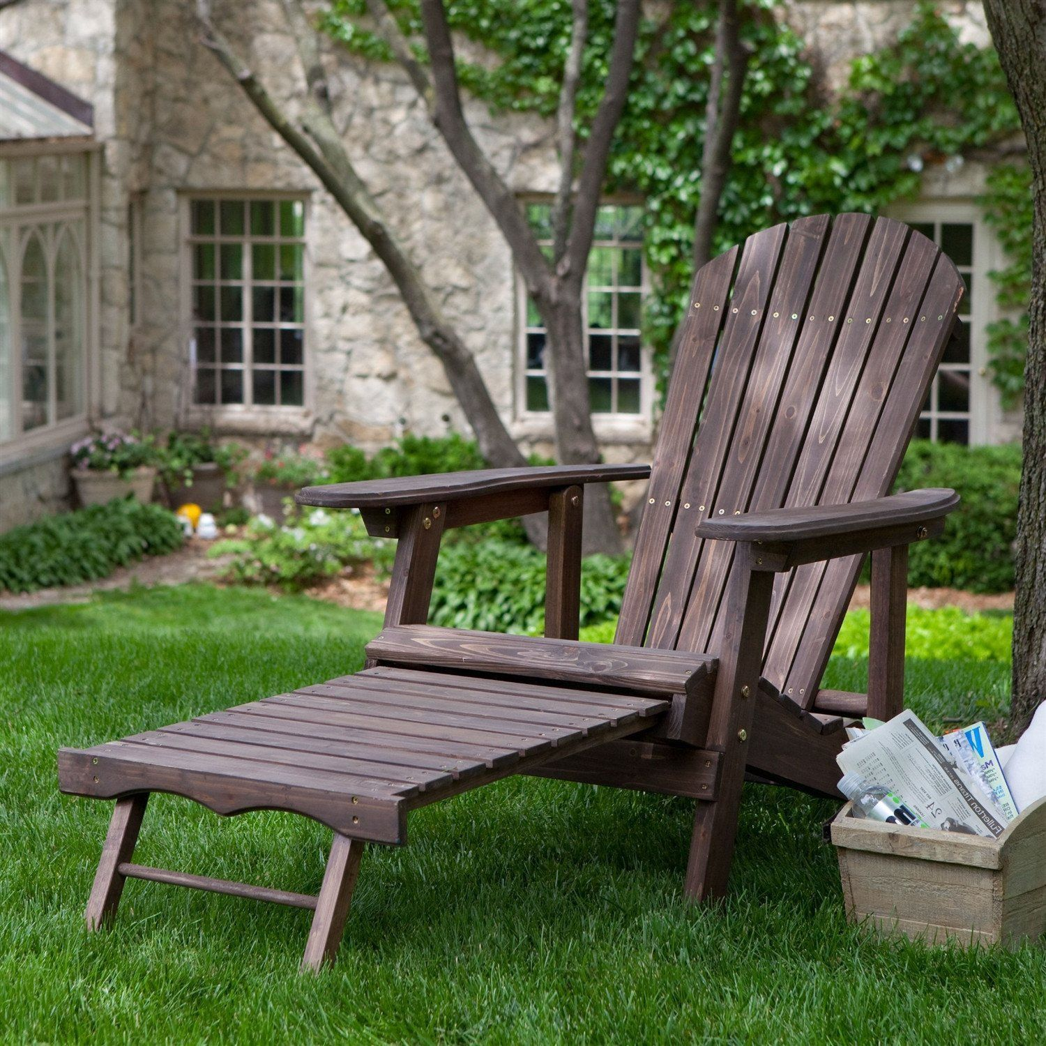 Dark Brown Wood Adirondack Chair with Built in Retractable Ottoman