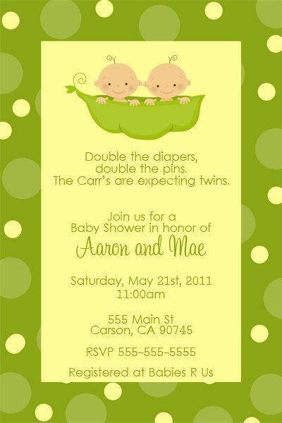 Two Peas In A Pod Baby Shower Invitation Twins By Dpdesigns2017 10 00