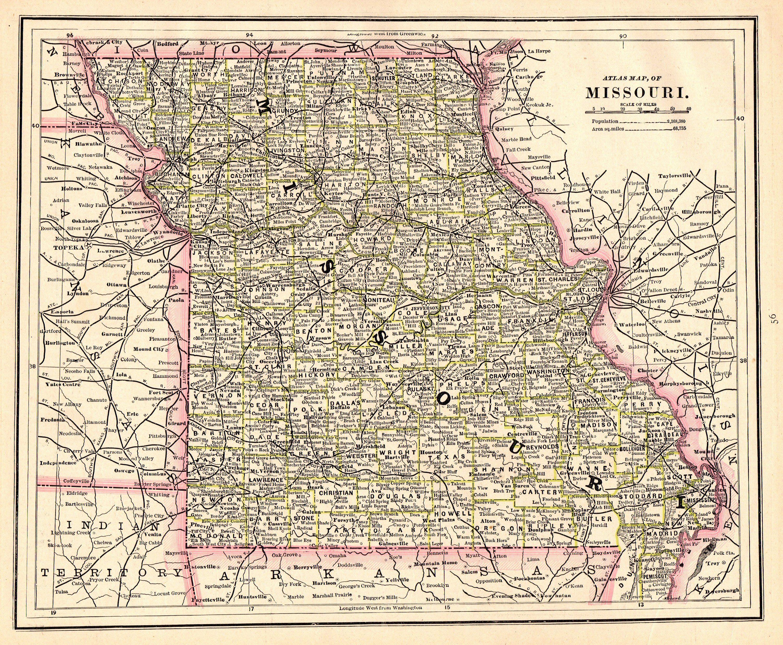 1892 Antique MISSOURI State Map Vintage Map of Missouri ...