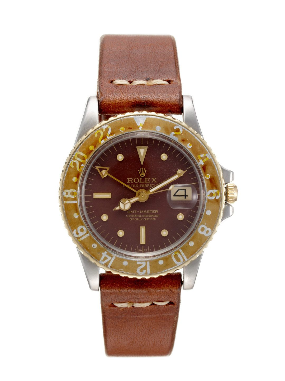Rolex stainless steel u yellow gold oyster perpetual gmtmaster
