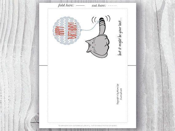 Birthday Card Printable Birthday Card Funny Cat Birthday Card