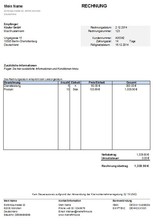 Rechnung Fur Kleinunternehmer In Word Kostenlos Herunterladen Rechnungsvorlage Rechnung Vorlage Rechnung