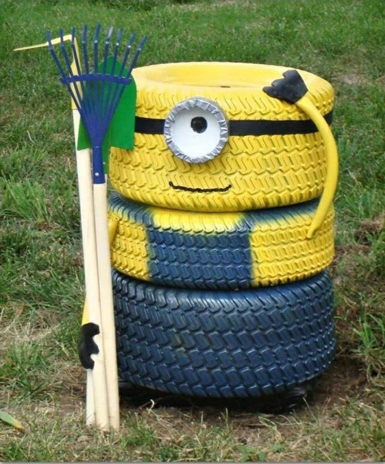 Do it yourself ideen reifen gartendeko minion crafty pinterest 45 diy tire projects how to creatively upcycle and recycle old tires into a new life by laura bee solutioingenieria