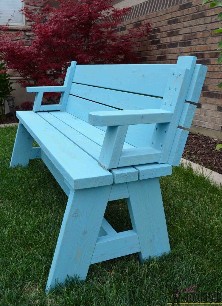 Convertible Picnic Table And Bench Her Tool Belt Diy Picnic Table Picnic Table Bench Picnic Table Plans