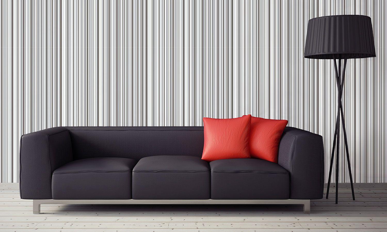 Grey Gray Pattern Metallic Stripe Modern Feature Wall